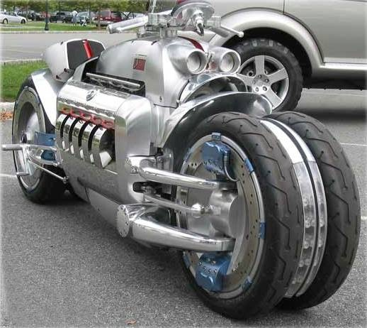 The Dodge Tomahawk is a Viper V-10 based motorcycle, a 500 horsepower engine with four wheels beneath it.