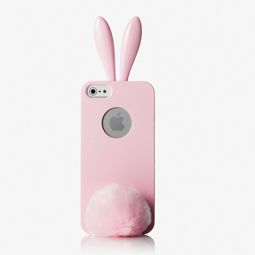 Rabito Bunny Ears Bling Bling Pink iPhone 5 Case with Furry Tail Holder