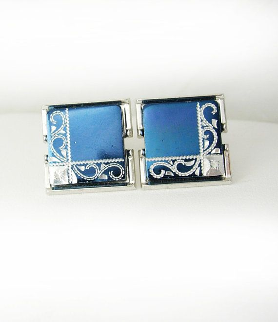 Vintage Metallic Blue Cufflinks Diamond Cut Spanish Revival Vintage Holidays Birthday Wedding. These are a beautiful pair of metallic blue