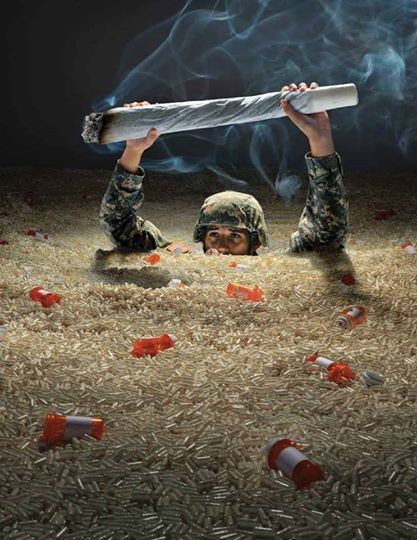 This is such a powerful image and one that should be taken seriously. There are so many of these wonderful Veterans that pills do not help and so they should be presented with the option of cannabis to help.