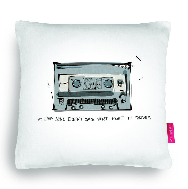 Quirky Illustrated Gifts   High Fidelity   Ohh Deer  cushion, pillow, mix tape, home, decor, illustration