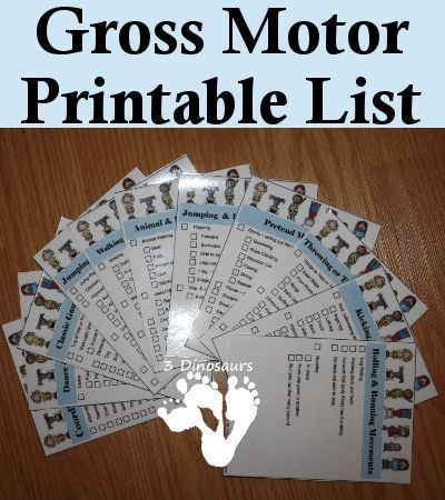 Free Gross Motor Printable List - 3Dinosaurs.com