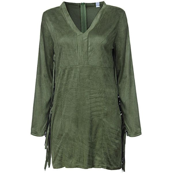 Women Sexy Suede Tassels V-neck Long Sleeve Mini Dress ($18) ❤ liked on Polyvore featuring dresses, green, sexy v neck dress, green dress, short dresses, short green dress and suede dress