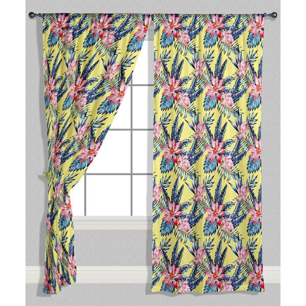 Oyo Home Pink & Light Yellow Tropical Curtain Panel ($50) ❤ liked on Polyvore featuring home, home decor, window treatments, curtains, pink curtain panels, light yellow curtains, tropical window treatments, pink home accessories and pink home decor