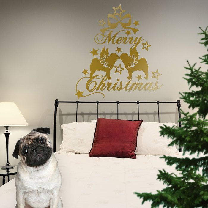 Pug Mops Carlin Christmas Dog Wall Decal , Dogs Angels - Good for Walls, Cars, Ipads, Mirrors Etc by PSIAKREW on Etsy