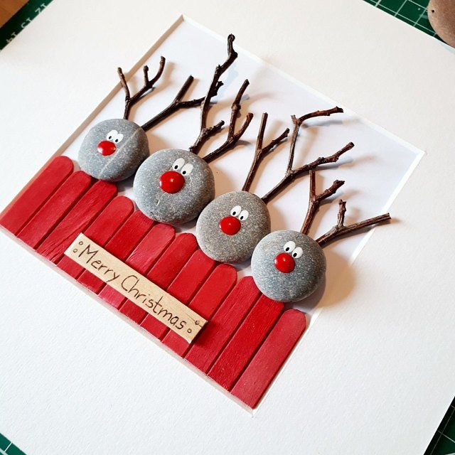 Reindeer picture, Reindeer pebble art, Reindeers picture, Reindeer wall art, Reindeers Christmas picture, Reindeer wall decor, Christmas art