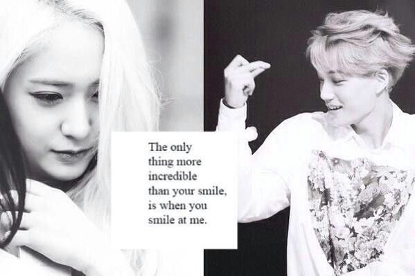 When you smile at me. Kai and Krystal. Kaistal Cr: megan.