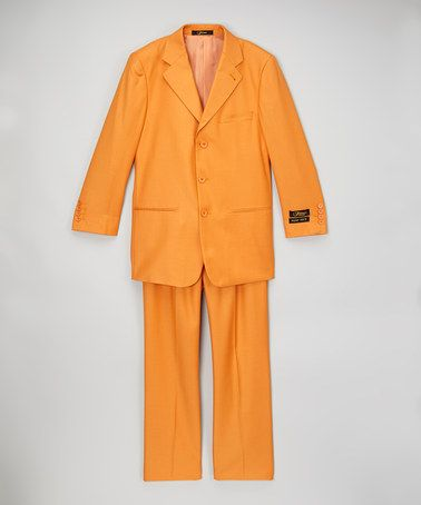 This Tangerine Two-Button Suit Set is perfect! #zulilyfinds