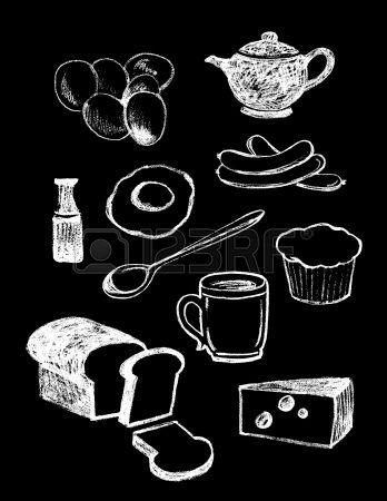 set van de hand getekende textuur voedsel illustraties in vintage krijtbord stijl Stockfoto