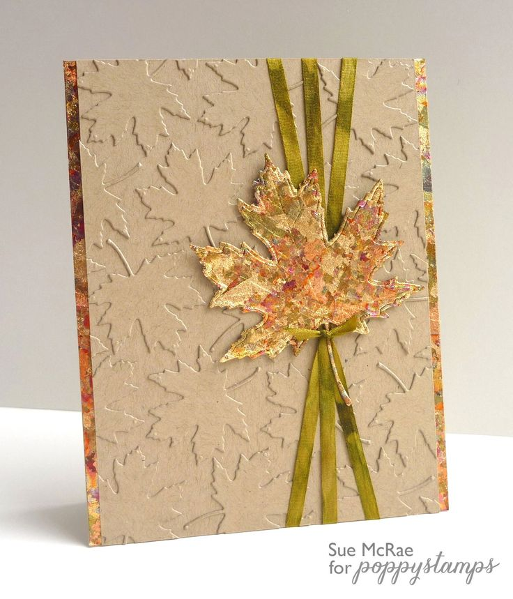 Die cut and embossed greeting card with olive ribbons ...