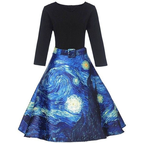 Black XL Galaxy Print A Line Vintage Dress ($14) ❤ liked on Polyvore featuring dresses, a line silhouette dress, space print dress, vintage a line dresses, galactic dress and planet dresses