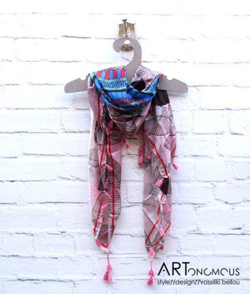 Silk scarf with tassels artonomous.gr