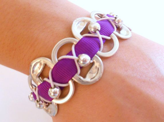 Pop Soda Can Tab Bracelet with Purple ribbon - Recycled - Upcycled - Like Kristen Stewart's - Twilight inspired - Washed tabs