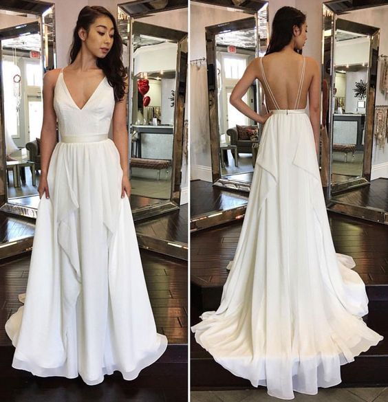 Jieruize White Simple Backless Wedding Dresses 2019 Ball: 17 Best Ideas About White Evening Gowns On Pinterest