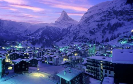 A view of the Zermatt ski resort in Switzerland