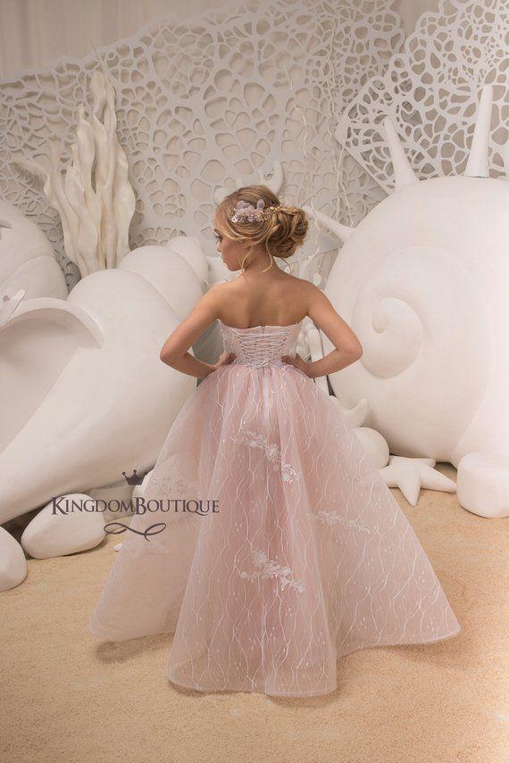 75e5c57c8574 Blush Pink Flower Girl Dress - Birthday Wedding party Bridesmaid Holiday  Blush Pink Lace Flower Girl