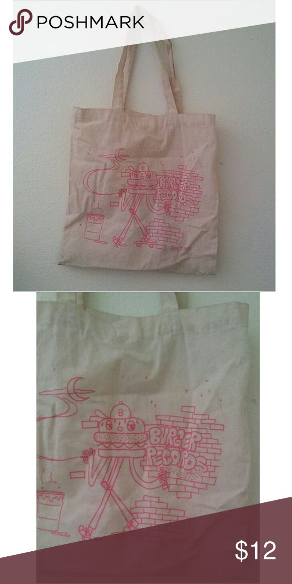 Burger Records Cream Tote Bag Amazing Burger Records Tote! Pink embroidery and tanish cream. A bit dirty but can be washed off! Really convenient for school or to carry anything!! Try on pic available!!  #burgerrecords #bag #tote #hottopic #cute #school #girly #rocker #cool Hot Topic Bags Totes