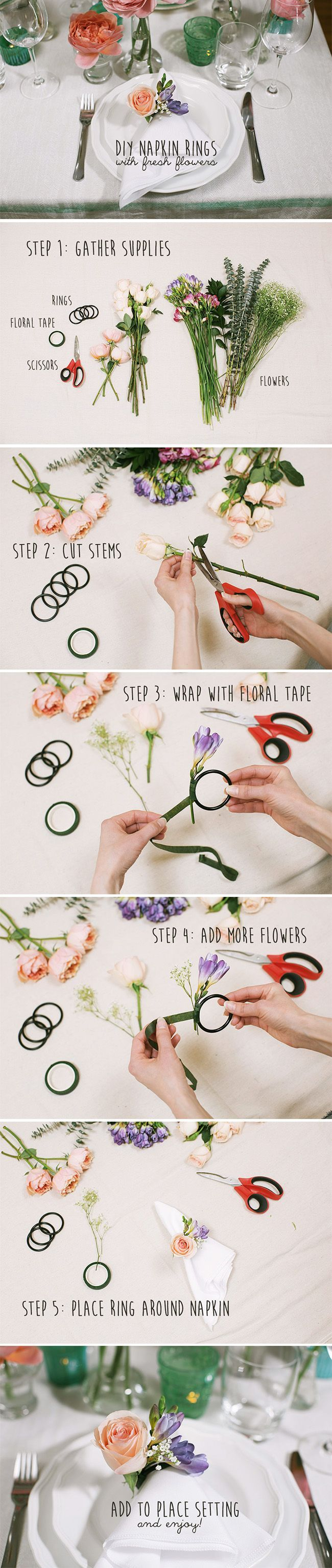 DIY flower napkin rings featuring blooms from FiftyFlowers! View full tutorial here: http://www.weddingbee.com/2014/05/15/fresh-flower-napkin-rings/