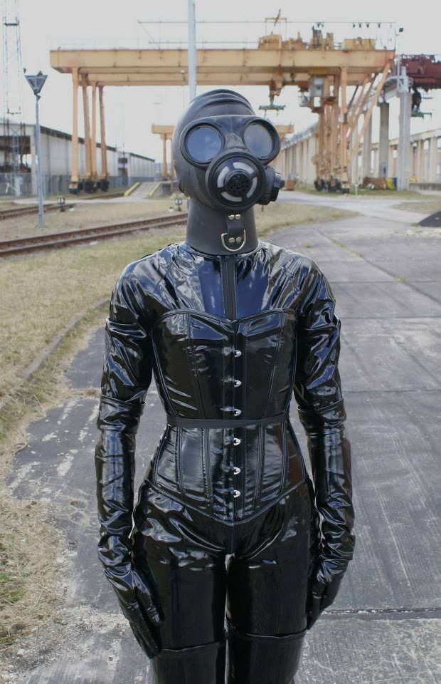 Full Latex Outfit And Gasmask And Corset How Lovely For