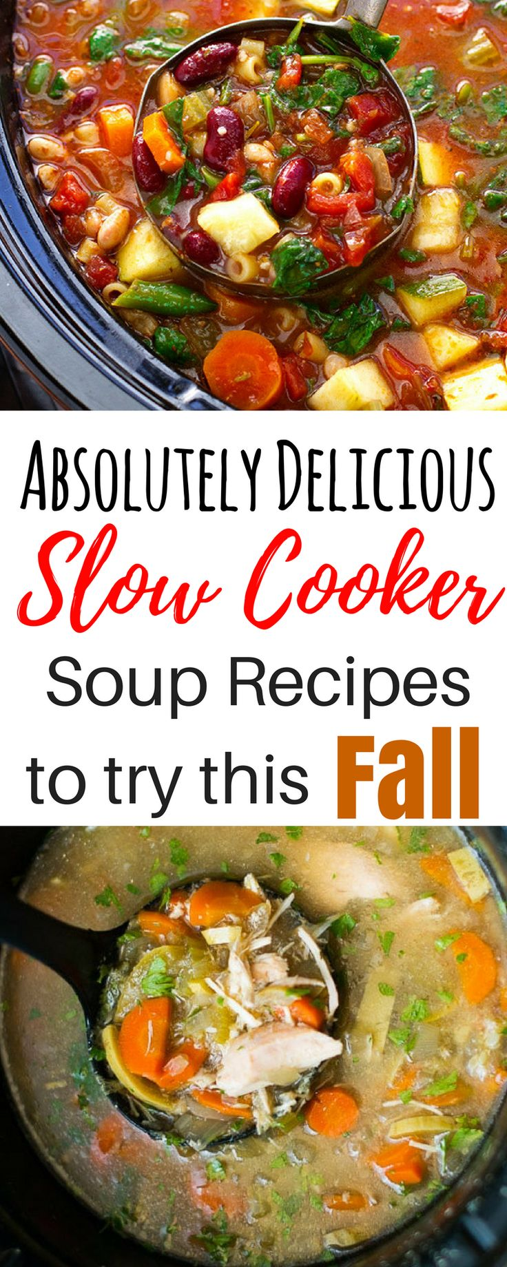 These 8 slow cooker soup recipes are all so healthy and delicious! I'm so glad I found this roundup with recipes for vegetarian tomato detox, chicken noodle, beef, potato, bean, and even easy Mexican soup! These awesome fall Crockpot recipes are THE BEST easy, healthy, and affordable options for your busy life! #slowcookersoups #soups #slowcooking #souprecipes