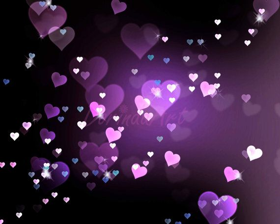 Heart background Digital purple heart Bokeh overlay by ...