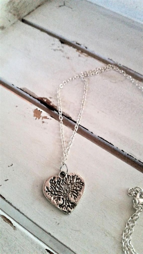 Tree heart charm necklace  tree/nature/leaves heart pendant