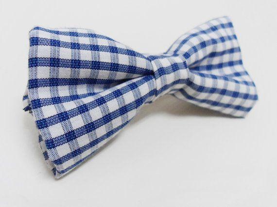 Vichy hair bow clip, Blue bow barrette, Fabric hair bow tie