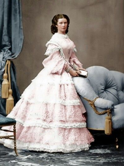 Sisi is wearing a white gown. Photo by Ludwig Angerer, 1860. Empress Elisabeth of Austria (Sisi, due to the movie also known now as Sissi, 1837-1898))