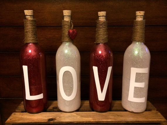 Valentine's Day LOVE Glitter Wine Bottles Set by SARAndipityShoppe, $35.00