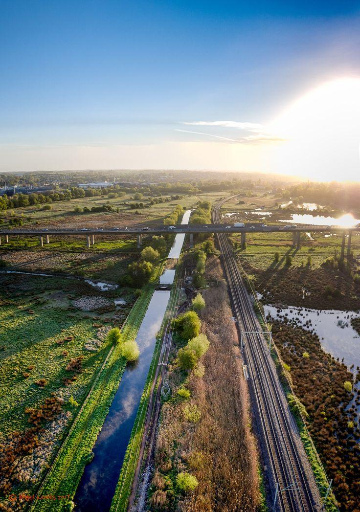 Hertford Sunrise - New River, Hertford to London Railway line, A10 Viaduct