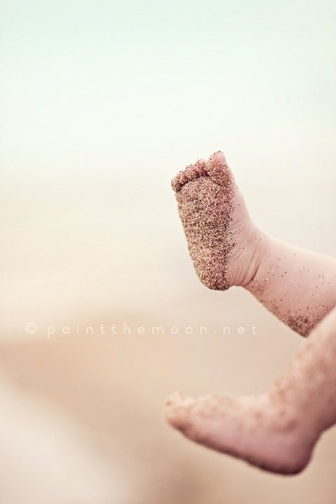 Precious sandy baby feet!
