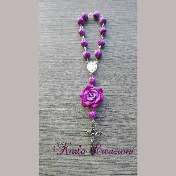 Guarda questo articolo nel mio negozio Etsy https://www.etsy.com/it/listing/495512032/rosario-lavanda-lilla