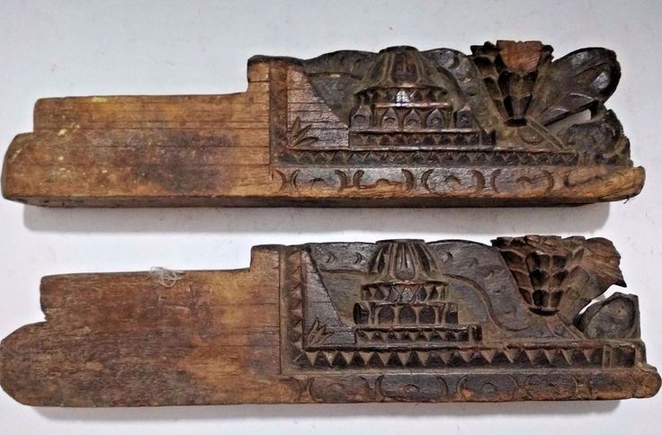 1850'S ANTIQUE BEAUTIFUL HAND CARVED 2 Pcs. WOODEN TRIBAL DOOR PANEL KHUNTI  #Handmade