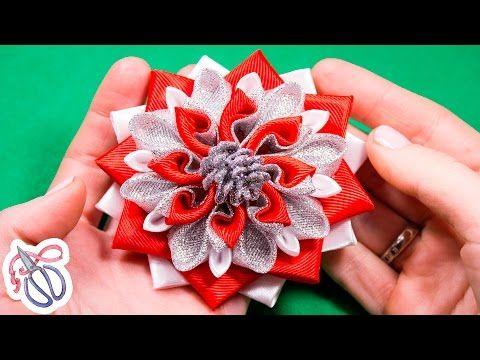 Christmas Kanzashi flowers / video tutorial / DIY - YouTube