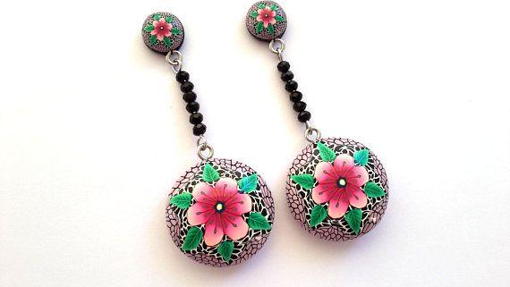 Polymer Clay Earrings,Flower Earrings,Dangle Earrings, Abstract Earrings, Handmade Earrings,OOAK