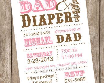 Dad baby shower invitation diaper baby shower invitation red