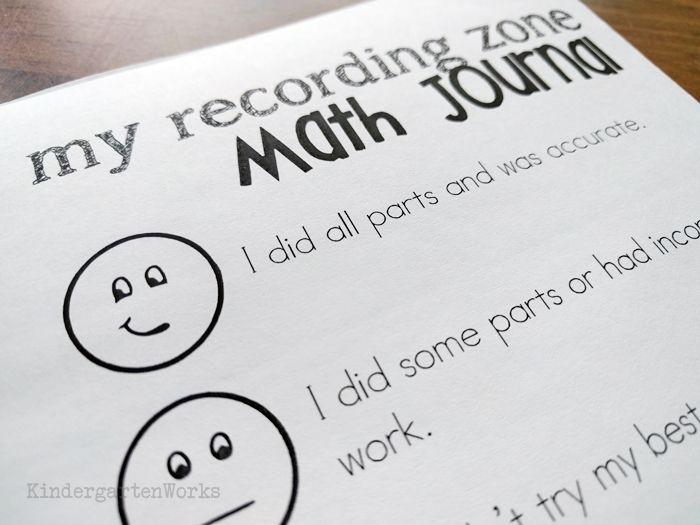 Math journal rubric for kindergarten math journals