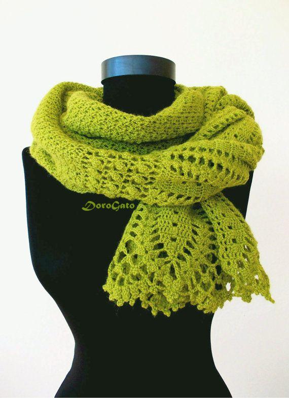 Handmade shawl Olive Crochet shawl lace shawl wraps by DoroGato