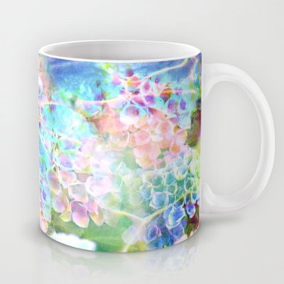 Hydrangeas in Water Mug by The Digital Weaver - $15.00