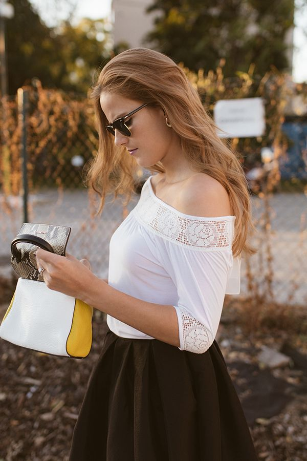 #bag #offshouldertop #coccinelle #minibag