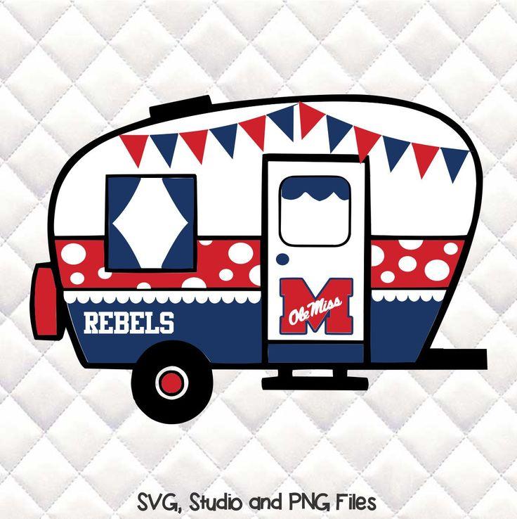 Ole Miss Rebels- Tailgating Camper SVG, Silhouette studio bundle - design download