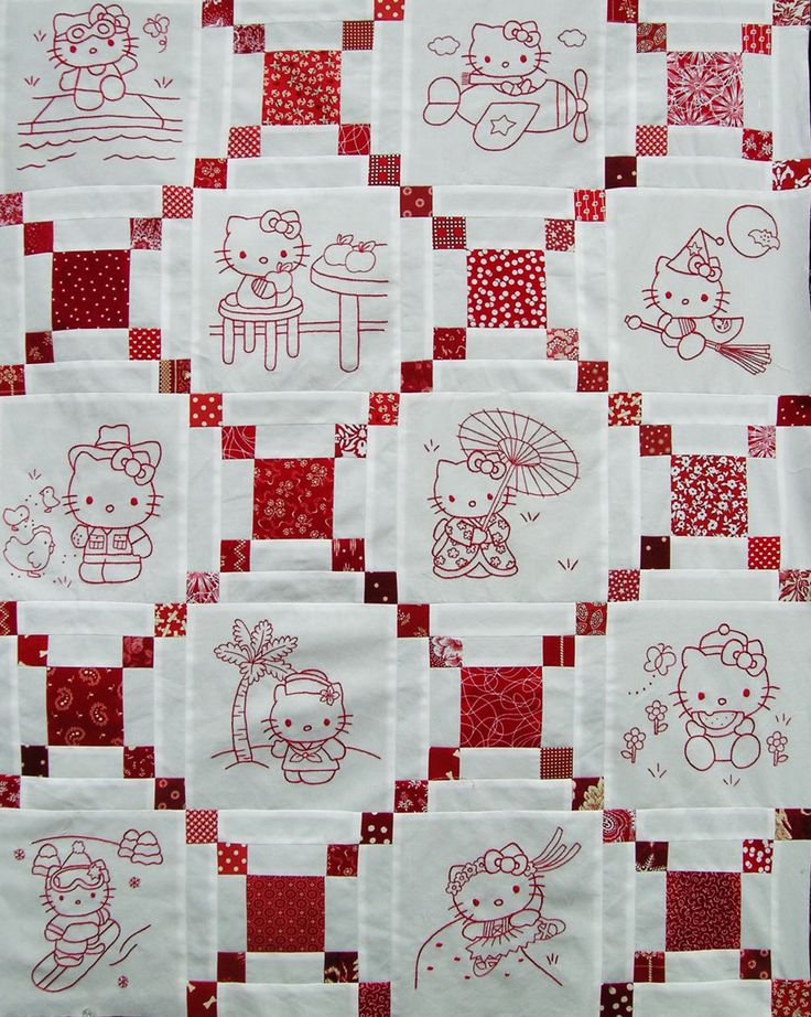 absolutely adorable Hello Kitty redwork quilt