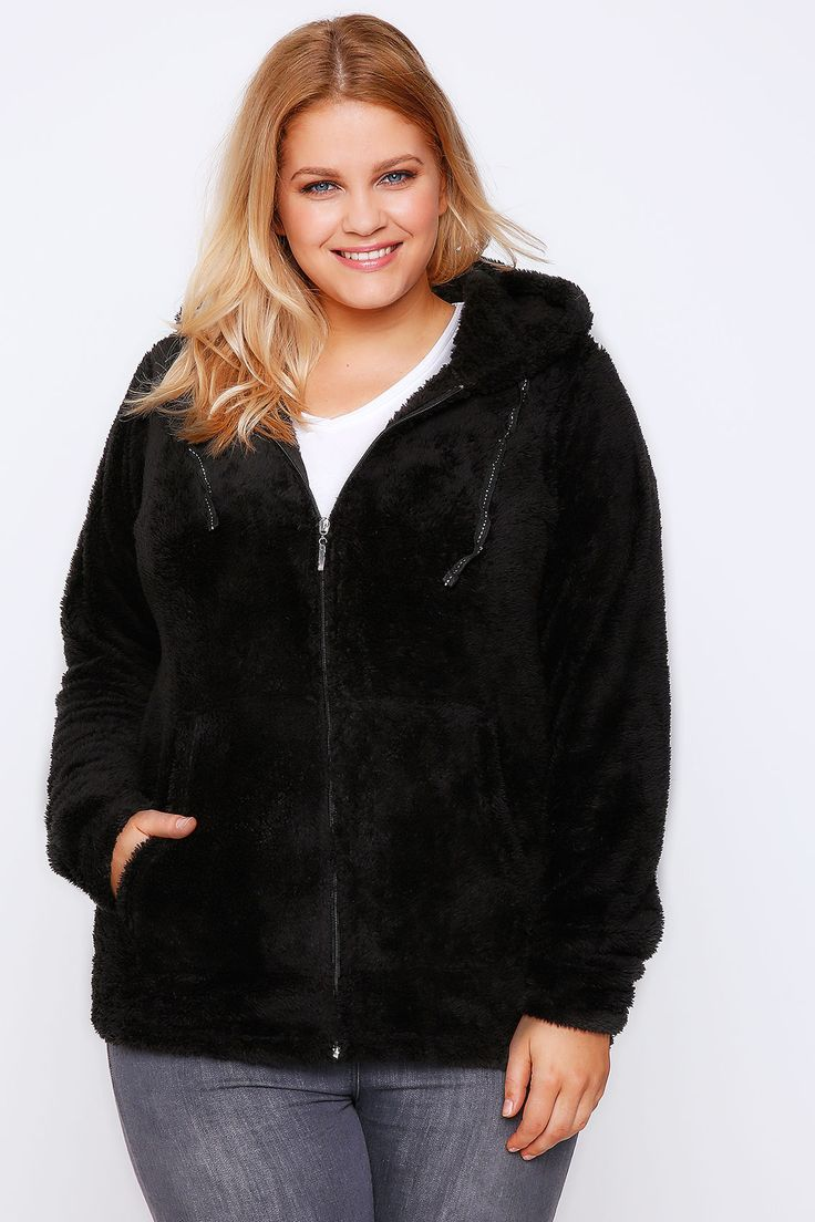 Black Fluffy Hooded Zip Up Fleece