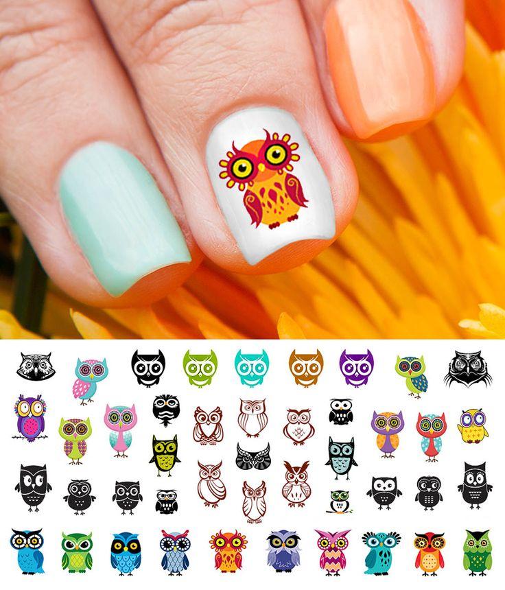 30 best Owl Nail Art Decals images on Pinterest   Owl nail art, Owl ...