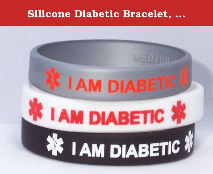 Silicone Diabetic Bracelet, 3 Pack, Classic Colors. This silicone medical id bracelets feature the message I AM DIABETIC surrounded on both sides by the medical alert symbol. The letters are de-bossed and filled in with contrasting colored silicone for maximum visibility and durability. Perfect for water activities, sports, school, or any time you don't want to wear a regular medical ID bracelet. Available in four sizes, please order carefully. xsmall (5 1/2 inch), petite (6 1/4 inch)...