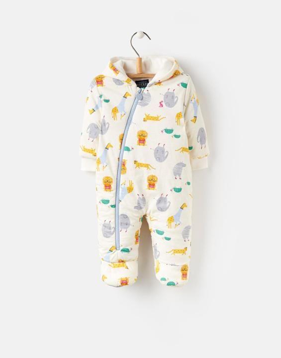 Joules UK 124456 BabyBoys Baby Boys Sung wadded jersey pramsuit Cream Zoo