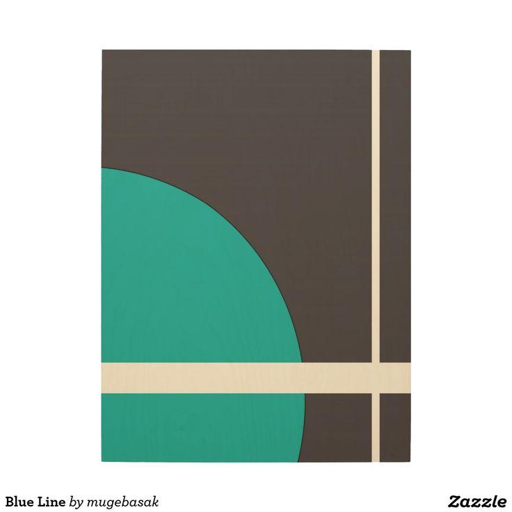Blue Line Wood Print