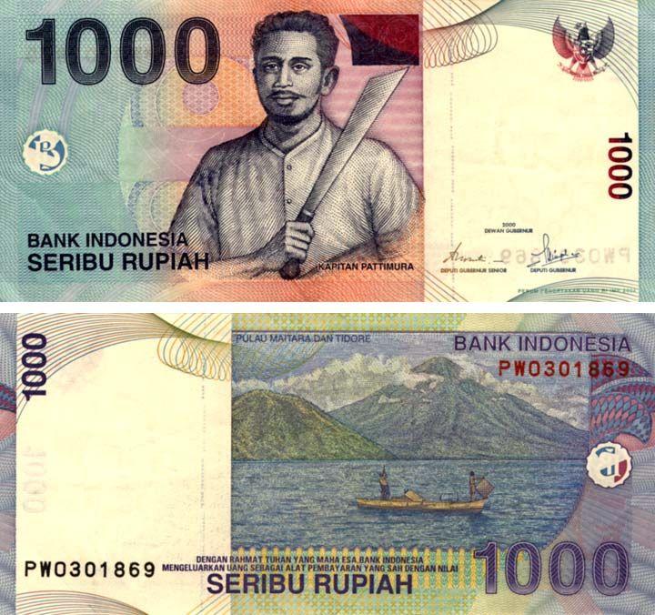 1000 rupias de indonesia Banknotes money, Money design