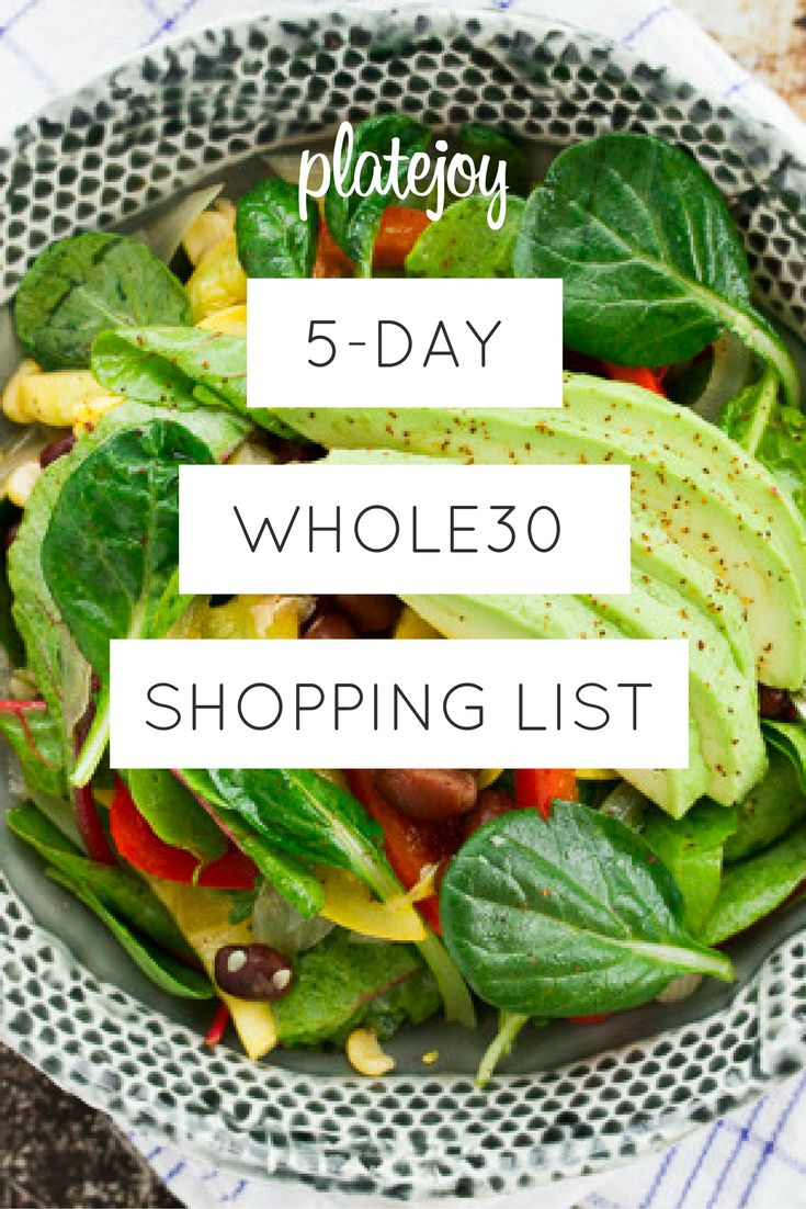 Whole30 Shopping List - Breakfast, Lunch, Dinner and Snack solved!