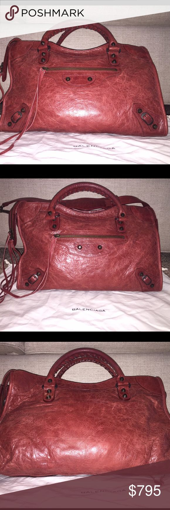 Balenciaga Classic City Sanguine Gorgeous LIKE NEW Balenciaga Classic City in Sanguine (pale brick red color).  Carefully used only a few times! I don't have the opportunity to switch out my purses as often as I'd like, so this baby has been stored in its dust bag waiting for some love. Don't let this unicorn get away - and for a great bargain!  Features:  Hand stitched handles Removable shoulder strap Aged brass hardware Front zip pocket Interior zip pocket with Balenciaga engraved plaque…